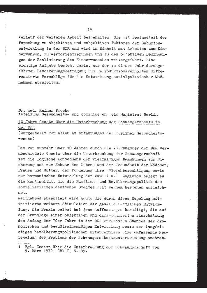 10 Jahre Gesetz über die Unterbrechung der Schwangerschaft in der DDR, dargestellt vor allem an Erfahrungen des Berliner Gesundheitswesens / Seite 1