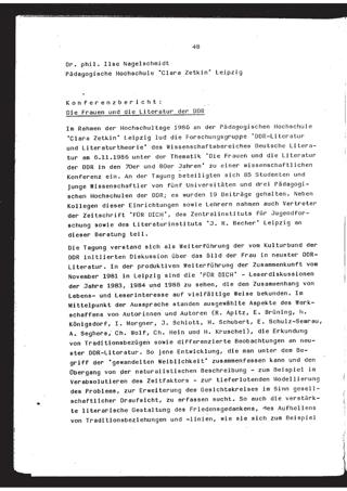 Konferenzbericht. Die Frauen und die Literatur der DDR