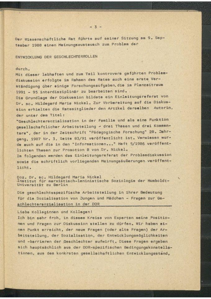 Die geschlechtsspezifische Arbeitsteilung in ihrer Bedeutung für die Sozialisation von Jungen und Mädchen : Fragen zur Geschlechtersozialisation in der DDR / Seite 1