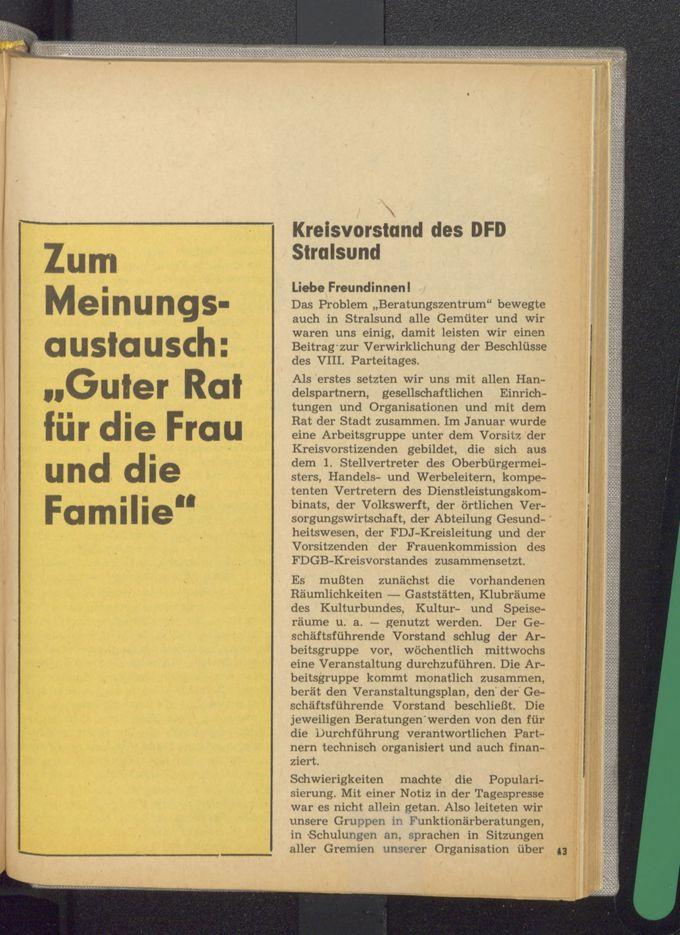 Zum Meinungsaustausch: Guter Rat für die Frau und die Familie : Kreisvorstand des DFD Stralsund / Seite 1
