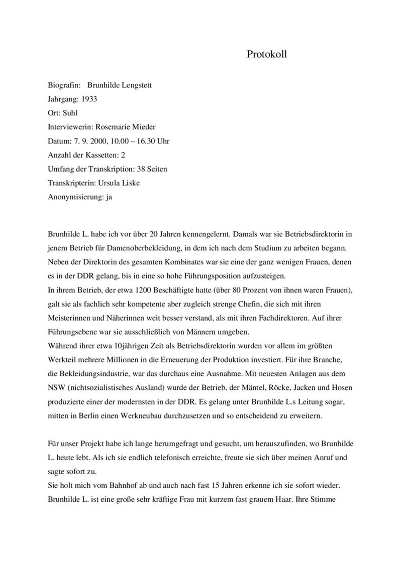 Protokoll zum Interview mit Brunhilde Lengstett