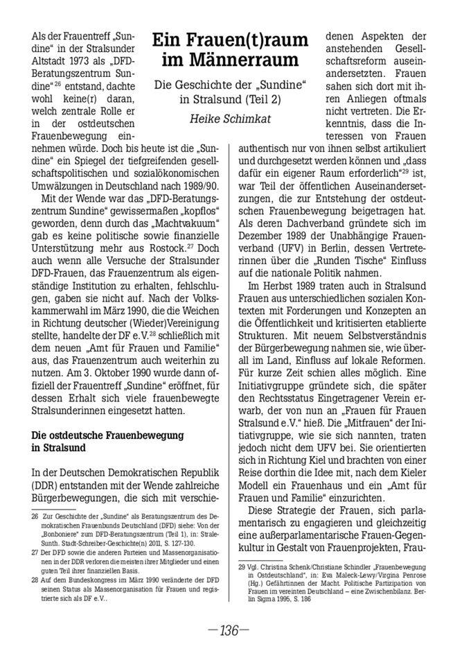 """Ein Frauen(t)raum im Männerraum : die Geschichte der """"Sundine"""" in Stralsund ; Teil 2 / Seite 1"""