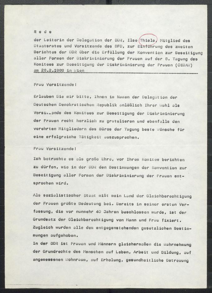 Rede der Leiterin der Delegation der DDR, Ilse Thiele, Mitglied des Staatsrates und Vorsitzende des DFD, zur Einführung des zweiten Berichtes der DDR über die Erfüllung der Konvention zur Beseitigung aller Formen der Diskriminierung der Frauen auf der 8. Tagung des Komitees zur Beseitigung der Diskriminierung der Frauen (CEDAW) am 28.2.1989 in Wien / Seite 1