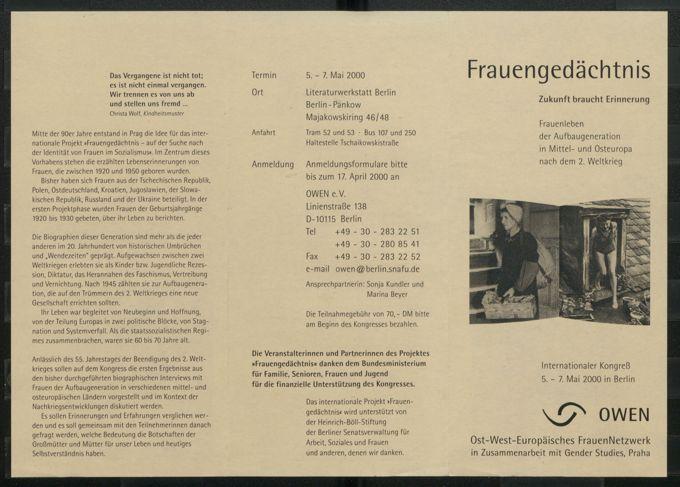 Frauengedächtnis : Zukunft braucht Erinnerung ; Frauenleben der Aufbaugeneration in Mittel- und Osteuropa nach dem 2. Weltkrieg ; internationaler Kongreß 5.-7. Mai 2000 in Berlin / Seite 1
