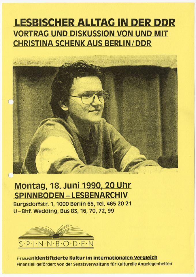 """Ankündigungsplakat zum Vortrag """"Lesbischer Alltag in der DDR"""""""