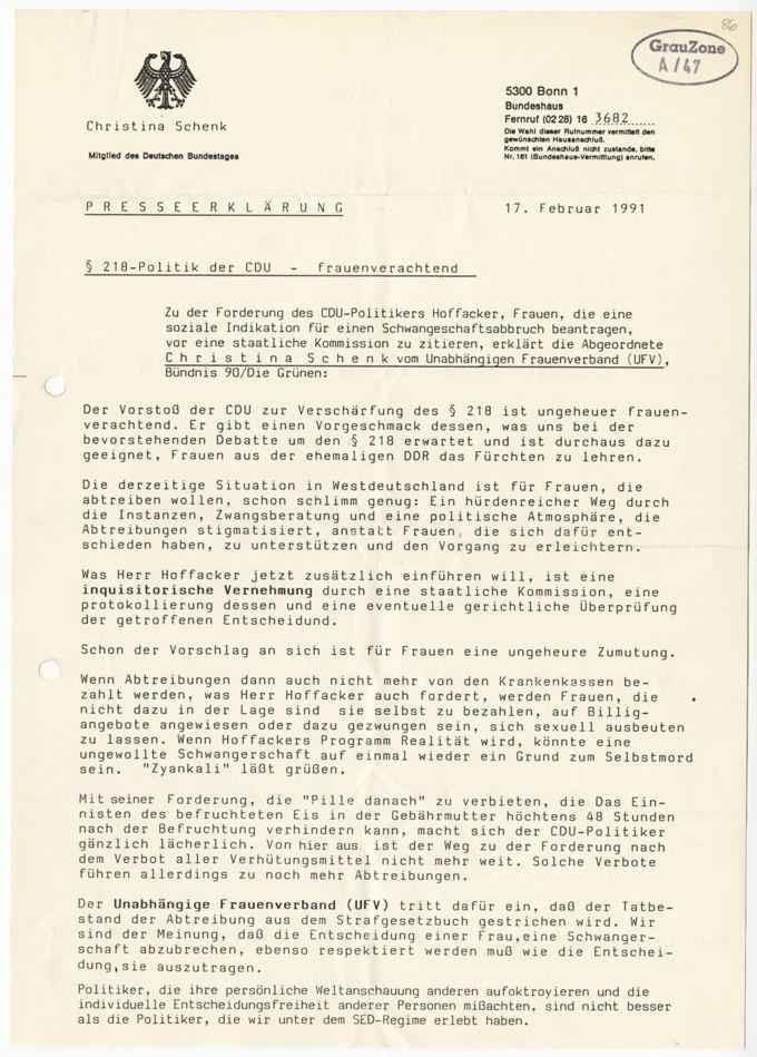 Pressemitteilung zu §218