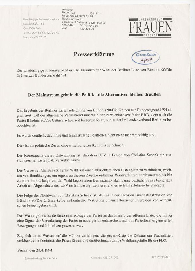 Presseerklärung vom UFV zu Wahl 94