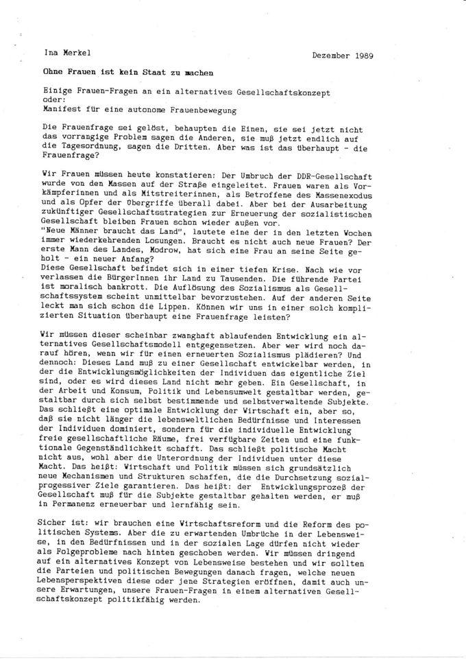 Manifest einer autonomen Frauenbewegung / Seite 1