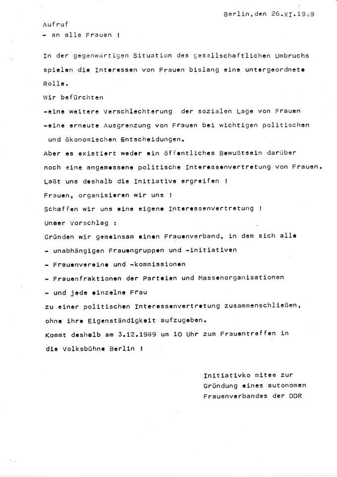 Aufruf des 'Initiativkomitees zur Gründung eines autonomen Frauenverbandes der DDR / Seite 1
