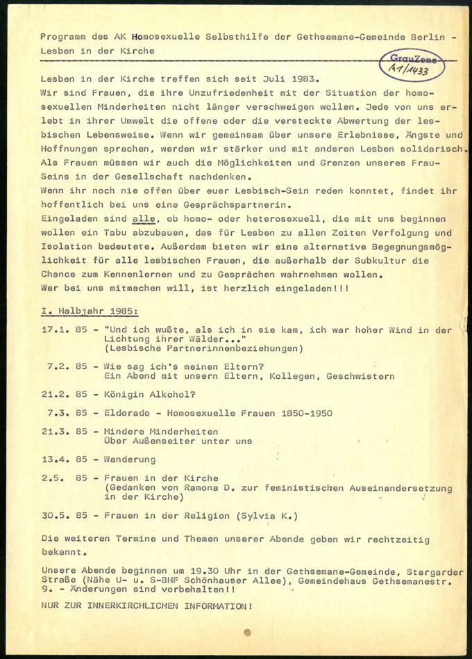 Arbeitskreis Homosexuelle Selbsthilfe Berlin - Lesben in der Kirche (2)