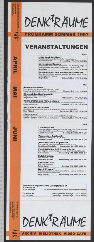 Frauenbildungszentrum DENKtRÄUME : Archiv - Bibliothek; Programm Sommer 1997