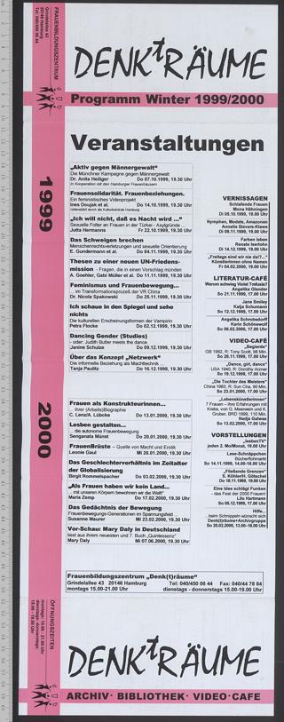 Frauenbildungszentrum DENKtRÄUME : Archiv - Bibliothek; Programm Winter 1999/2000