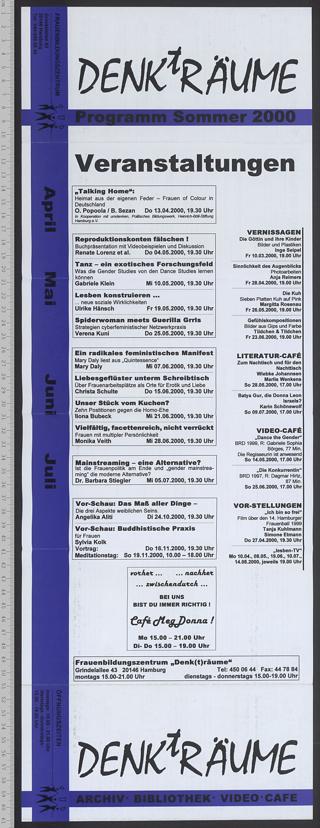 Frauenbildungszentrum DENKtRÄUME : Archiv - Bibliothek; Programm Sommer 2000