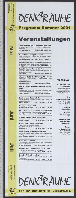 Frauenbildungszentrum DENKtRÄUME : Archiv - Bibliothek; Programm Sommer 2001