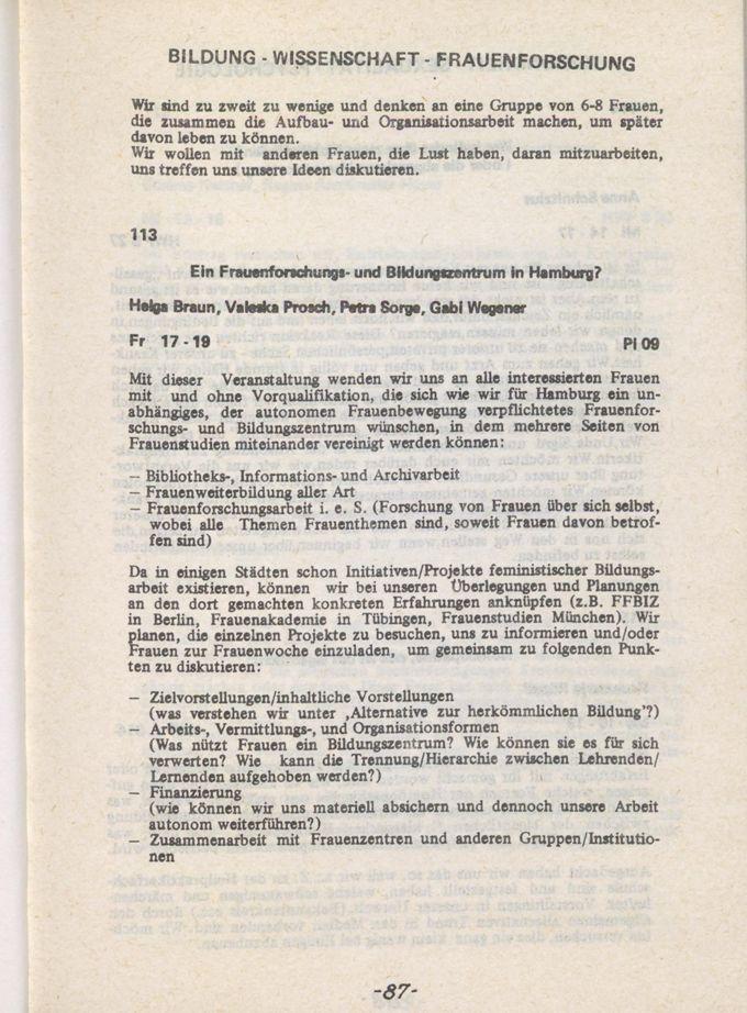 Hamburger Frauenwoche, 23. - 28. März 1981