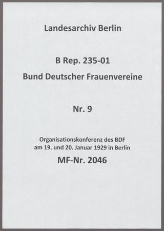 Organisationskonferenz des BDF am 19. und 20. Januar 1929 in Berlin