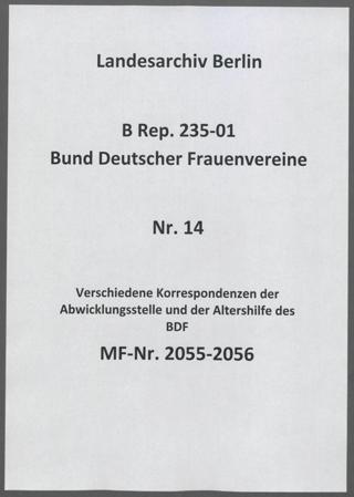 Verschiedene Korrespondenzen der Abwicklungsstelle und der Altershilfe des BDF