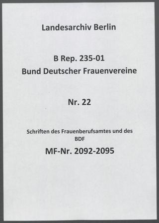Schriften des Frauenberufsamtes und des BDF