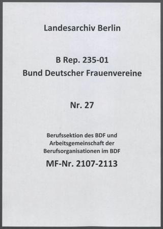 Berufssektion des BDF und Arbeitsgemeinschaft der Berufsorganisationen im BDF