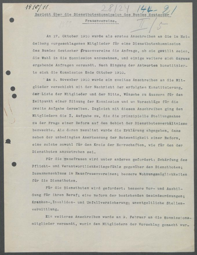 Korrespondenzen, Anschreiben und Sitzungsprotokolle der Kommissionen / Seite 89