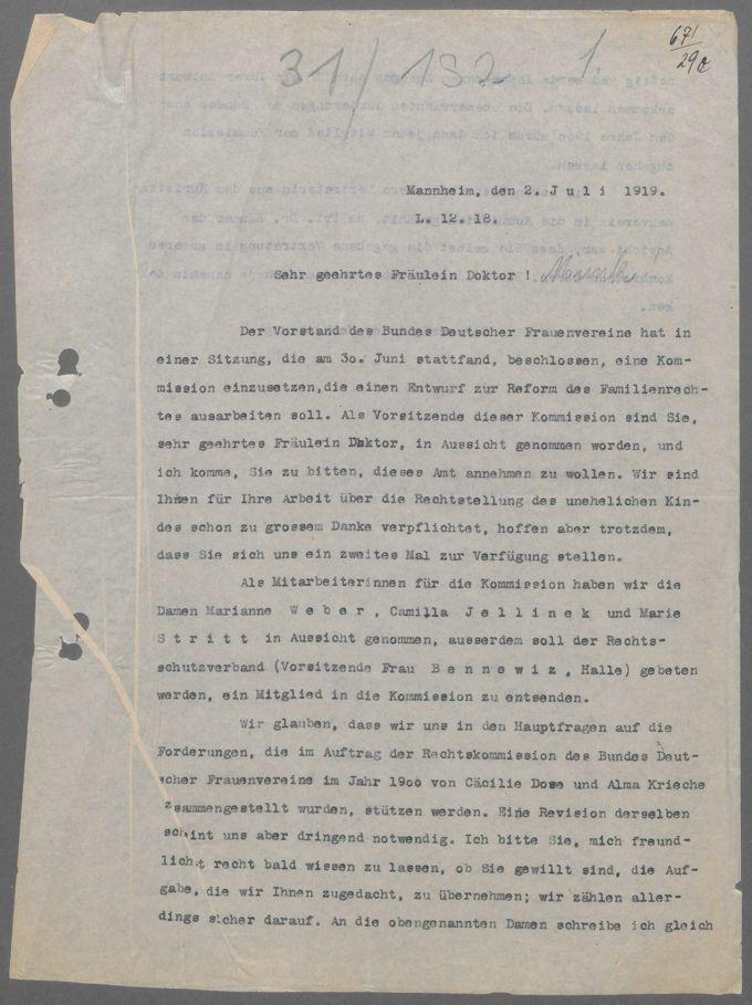 Korrespondenzen der Rechtskommission 1907 - 1910 und der Kommission zur Reform des Familienrechts 1919 / Seite 628