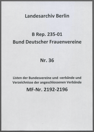 Listen der Bundesvereine und -verbände und Verzeichnisse der angeschlossenen Verbände