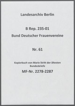 Kopierbuch von Marie Stritt der ältesten Bundesbriefe