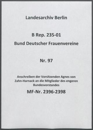 Anschreiben der Vorsitzenden Agnes von Zahn-Harnack an die Mitglieder des engeren Bundesvorstandes