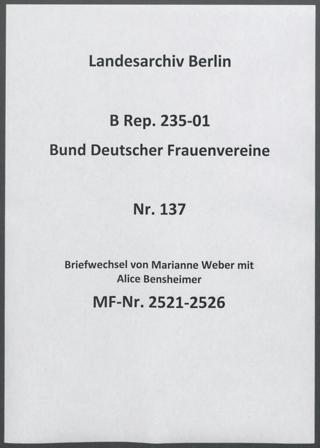 Briefwechsel von Marianne Weber mit Alice Bensheimer