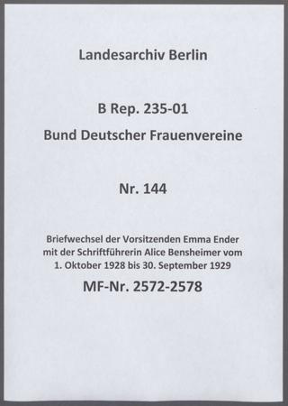 Briefwechsel der Vorsitzenden Emma Ender mit der Schriftführerin Alice Bensheimer vom 1. Oktober 1928 bis 30. September 1929