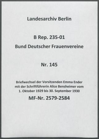 Briefwechsel der Vorsitzenden Emma Ender mit der Schriftführerin Alice Bensheimer vom 1. Oktober 1929 bis 30. September 1930