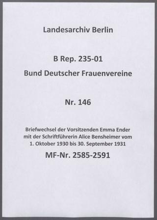 Briefwechsel der Vorsitzenden Emma Ender mit der Schriftführerin Alice Bensheimer vom 1. Oktober 1930 bis 30. September 1931