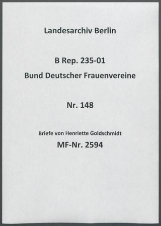 Briefe von Henriette Goldschmidt