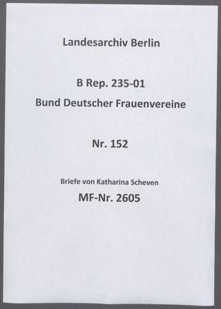 Briefe von Katharina Scheven