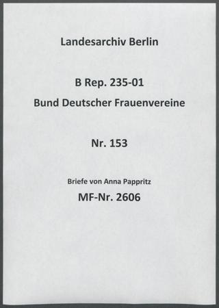 Briefe von Anna Pappritz
