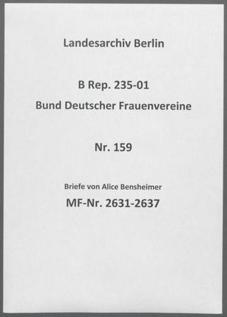 Briefe von Alice Bensheimer