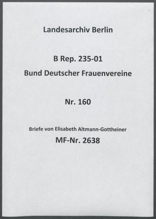 Briefe von Elisabeth Altmann-Gottheiner