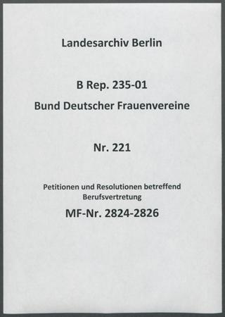 Petitionen und Resolutionen betreffend Berufsvertretung