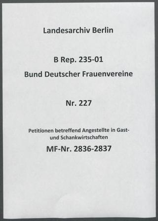 Petitionen betreffend Angestellte in Gast- und Schankwirtschaften