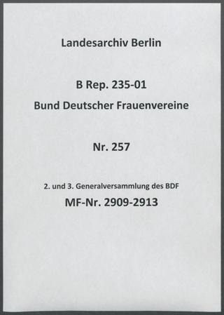 2. und 3. Generalversammlung des BDF