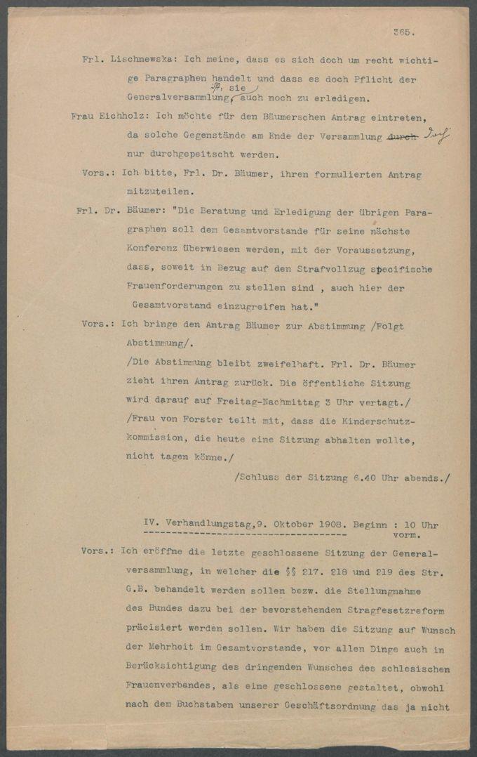 Protokolle (Stenogramme)  der 8. Generalversammlung des BDF vom 6. bis 9. Oktober 1908 in Breslau (490 Seiten) / Seite 367