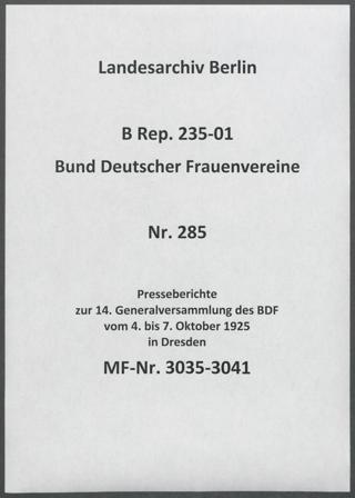 Presseberichte zur 14. Generalversammlung des BDF vom 4. bis 7. Oktober 1925 in Dresden