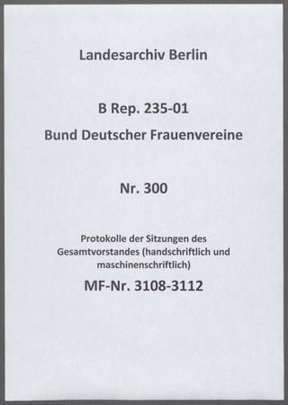 Protokolle der Sitzungen des Gesamtvorstandes (handschriftlich und maschinenschriftlich)