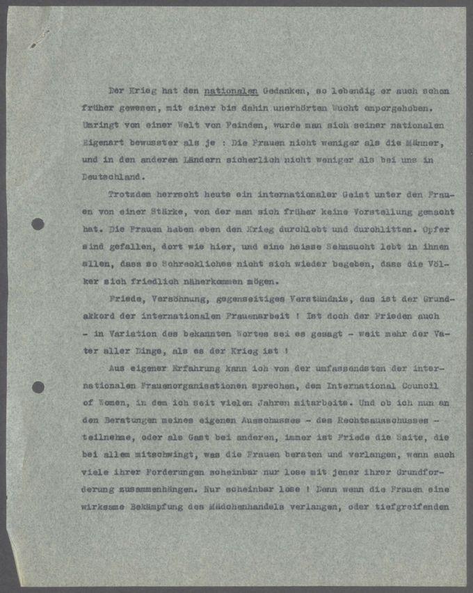 """Durchschrift des """"Goldenen Buches für Lady Aberdeen"""" aus Anlaß ihrer Goldenen Hochzeit am 7. Januar 1928 und Abschrift des Antwortschreibens der Countess of Aberdeen an Emma Ender / Seite 14"""