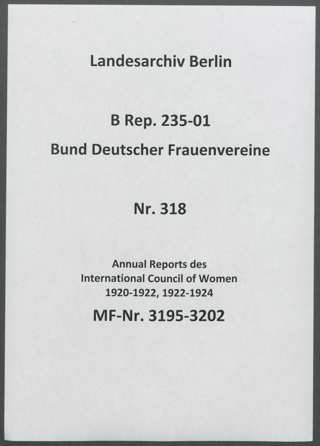 Annual Reports des International Council of Women 1920-1922, 1922-1924