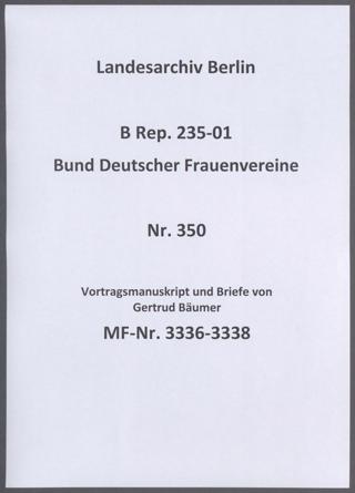 Vortragsmanuskript und Briefe von Gertrud Bäumer
