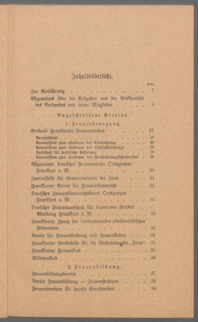 """Broschüre """"Der Verband Frankfurter Frauenvereine und seine Mitglieder"""" / Seite 6"""