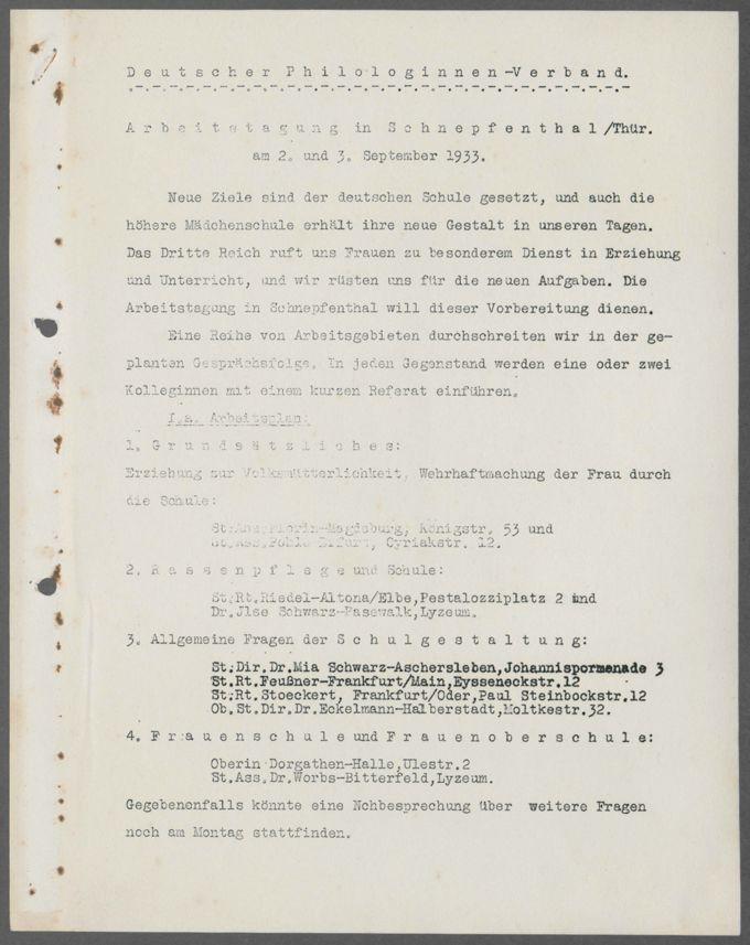 Arbeitstagung zur Neugestaltung der höheren Mädchenschule im September 1933 / Seite 3