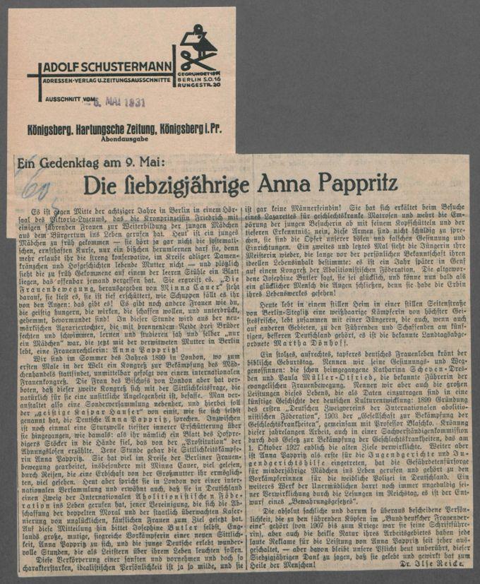 Glückwunschbriefe und -karten, Zeitungsartikel und Zeitschriftenaufsätze zum 70. Geburtstag von Anna Pappritz am 9. Mai 1931. / Seite 3