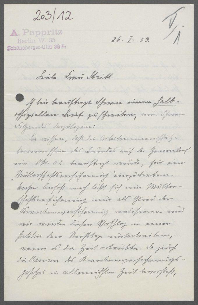 Briefe von Anna Pappritz an Marie Stritt / Seite 3